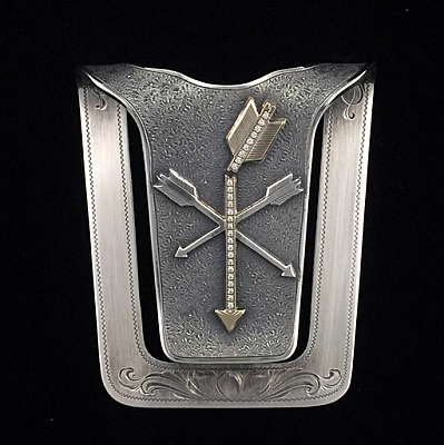 SAN AUGUSTINE 1601 LARGE STERLING MONEY CLIP SET WITH 14K ARROW AND 27 1.5MM DIAMONDS