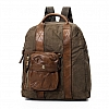 CAMO CANVAS AND LEATHER BACKPACK IN MILITARE