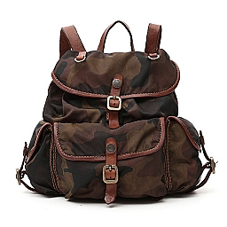 CAMO NYLON  BACKPACK WITH COGNAC LEATHER TRIM