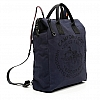 CANVAS & LEATHER RIBBON STRAP BACKPACK IN BLUE