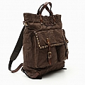 CANVAS LEATHER AND STUD BACKPACK SHOPPER TOTE IN MILITARE