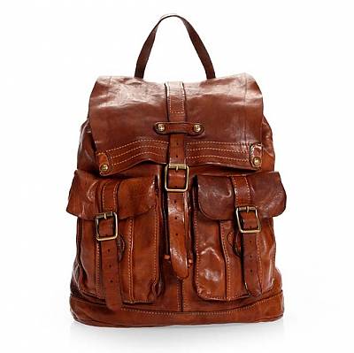 CLASSIC LEATHER TWO POCKET BACKPACK IN COGNAC