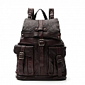 CLASSIC LEATHER TWO POCKET BACKPACK IN MORO
