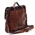 COGNAC LEATHER AND SUEDE MEDIUM DOUBLE BUCKLE BRIEFCASE