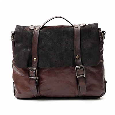 MORO LEATHER AND SUEDE  DOUBLE BUCKLE FRONT BRIEFCASE