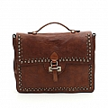 STUD AND CRYSTAL LEATHER BRIEFCASE IN COGNAC