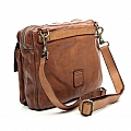TWO POCKET FRONT LEATHER CROSS BODY BRIEFCASE IN COGNAC