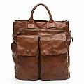 VERTICAL TWO POCKET LEATHER BREIFCASE WORKBAG IN COGNAC