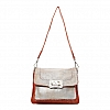 CROSSBODY FLAP FRONT  LEATHER LAMINATE CROSSBODY IN BAKED