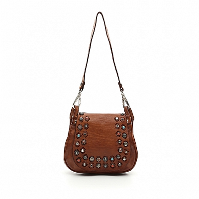 SMALL LEATHER SADDLE CROSSBOEY BAG WITH STUDS AND STONES IN COGNAC