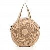 SMALL OPTICAL WOVEN LEATHER ROUND CROSSBODY IN BEIGE
