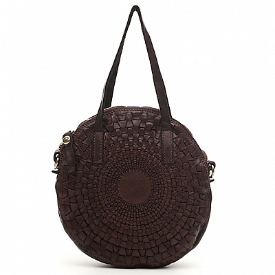 SMALL OPTICAL WOVEN LEATHER ROUND CROSSBODY IN MORO