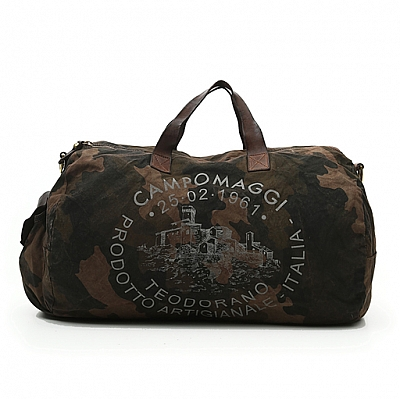 CAMO CANVAS & LEATHER WEEKEND DUFFLE IN MORO