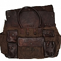 LEATHER POCKET FRONT WEEKEND BAG WITH MILITARE CANVAS IN BROWN