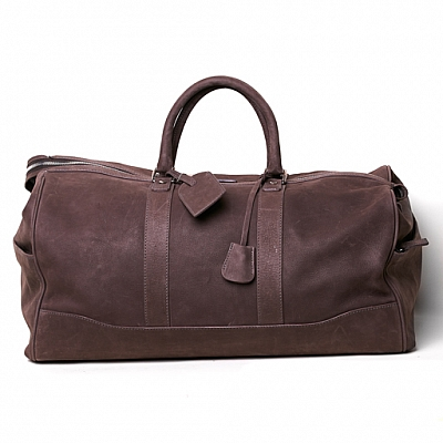 MIAMI DOUBLE POCKET TRAVEL DUFFEL IN GREY NABUK