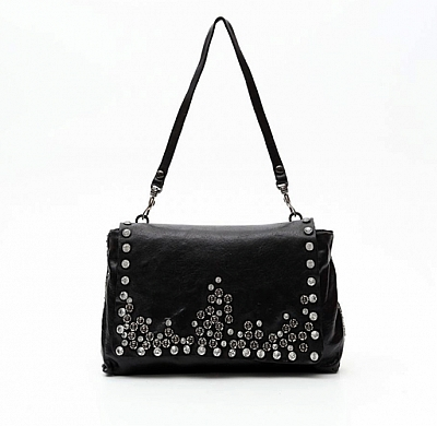 BLACK CRYSTAL AND RIVET FLOWER STUD SHOULDER BAG