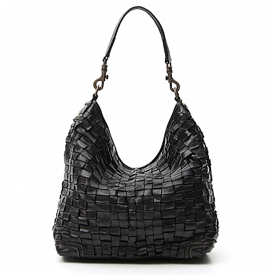 BLACK LIGHTWEIGHT WOVEN MEDIUM HOBO BAG