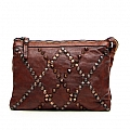 COGNAC DIAMOND PATTERN STUDDED SHOULDER BAG