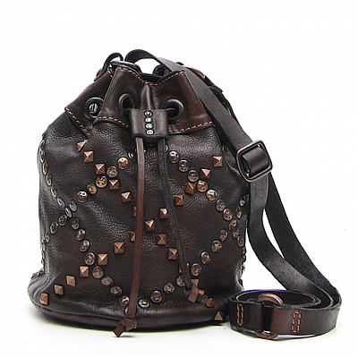 DIAMOND PATTERN STUDDED MORO BUCKET BAG