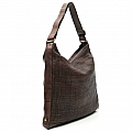 FLAT SHOULDER BAG IN THIN WOVEN LEATHER IN GRIGIO