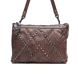 GREY DIAMOND PATTERN STUDDED SHOULDER BAG