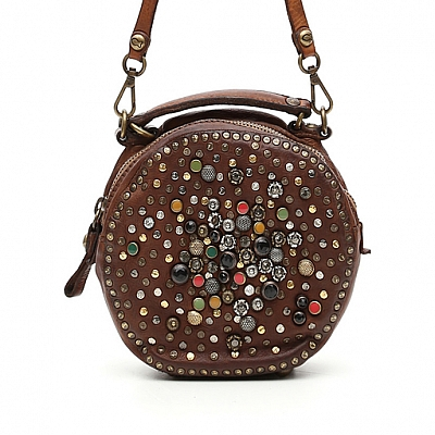 JEWELED CANTEEN BOWLING BAG IN COGNAC
