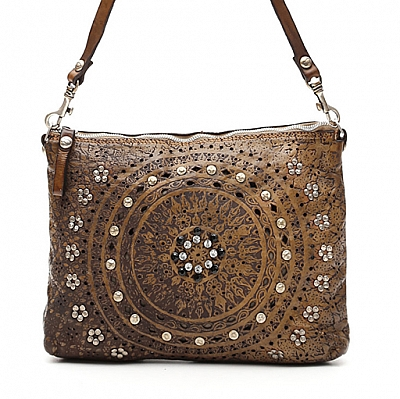 LASER CUT CIRCLE STUD LEATHER CROSSBODY POUCH IN MILITARE