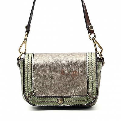 SMALL LAMINATED CROSS BODY BAG IN SILVER & MILITARE