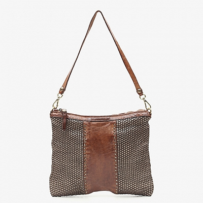 STEEL LAMINATE ON COGNAC THIN WOVEN LEATHER POUCH