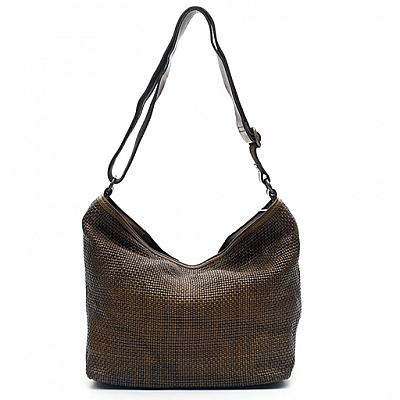 THIN WOVEN LEATHER SHOULDER BAG IN MILITARE