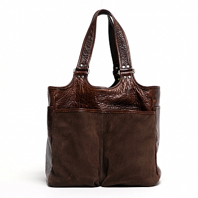 BELLE PICNIC TOTE IN NUBUC CHOCOLATE