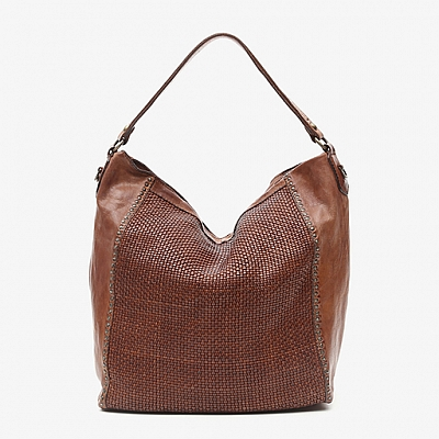 COGNAC LEATHER AND MICRO WEAVE SHOULDER TOTE