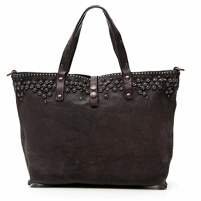 FLORAL STUDDED SUEDE TOTE IN MORO