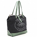 JEANS & GREEN LEATHER MEDIUM SHOPPING TOTE