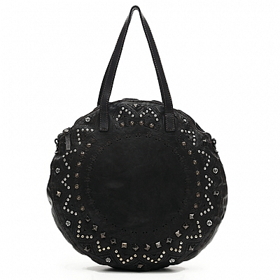 LARGE ROUNDED SHOPPER WITH LASER + STUDS IN BLACK