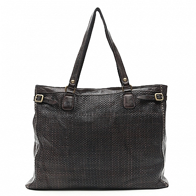 LARGE SHOPPER IN THIN WOVEN LEATHER + STUDS IN GREY