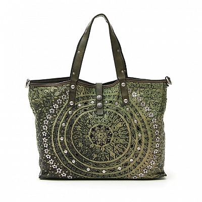 LASER AND STUD LEATHER SHOPPER TOTE IN SALVIA