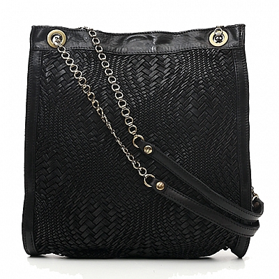 MEDIUM WOVEN SHOPPING TOTE WITH CHAIN IN BLACK