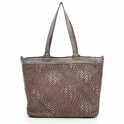 OPTICAL WOVEN LEATHER  SHOPPING TOTE IN PEARL GREY
