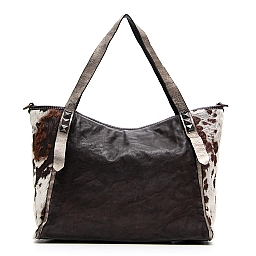 PONY HAIR AND LEATHER SHOULDER TOTE IN GREY