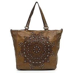 SERENOA LEATHER SHOPPER TOTE WITH STUDS AND LASER PRINT IN MILITARE