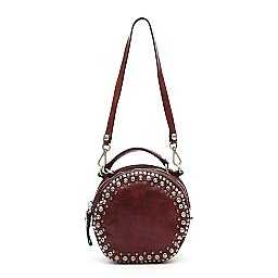 STUD AND CRYSTAL CANTEEN LEATHER CROSSBODY BAG IN VINACCIA