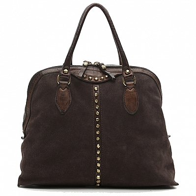 SUEDE  & STUD RIBBON FRONT BOWLING BAG IN MORO