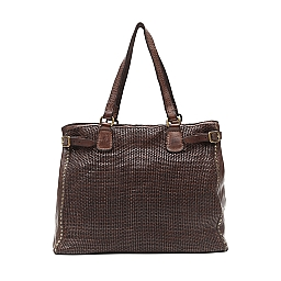 THIN WOVEN LEATHER SHOPPER WITH STUDS IN MORO