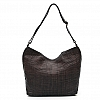 THIN WOVEN LEATHER SHOULDER BAG IN MORO