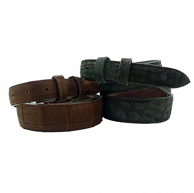 "1"" NUBUCK SUEDE CROCODILE BELT"