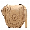 BLEACHED LACED LEATHER CROSSBODY IN BEIGE