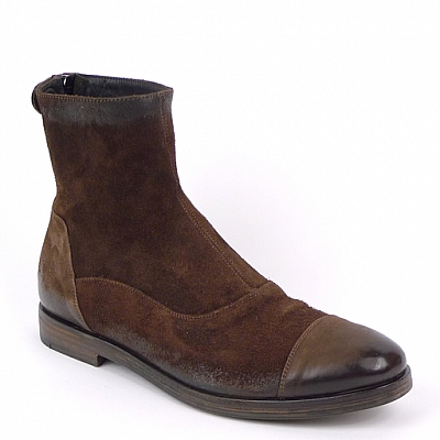 ALBERTO FASCIANI QUINCY CHOC SUEDE LOW HEEL ZIP  BOOT