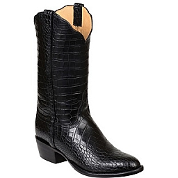 MENS BARON FULL AMERICAN ALLIGATOR BOOTS IN BLACK