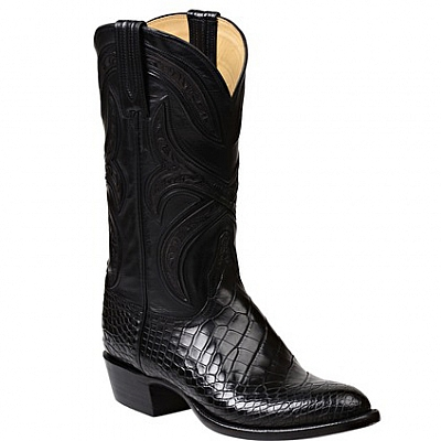 MENS FORDE AMERICAN ALLIGATOR BOOT IN BLACK